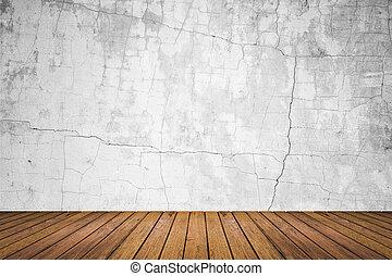 grunge, salle, plancher, mur, bois, vide