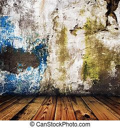 grunge, salle, plancher, mur peint, bois