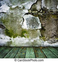 grunge, salle, plancher, mur peint, bois, toqué
