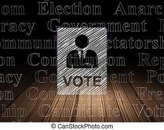 grunge, salle, sombre, politique, vote, concept: