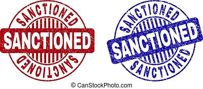 Grunge SANCTIONED round stamp seals isolated on a white background. Round seals with grunge texture in red and blue colors. Vector rubber imprint of SANCTIONED title inside circle form with stripes.