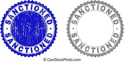 Grunge SANCTIONED stamp seals isolated on a white background. Rosette seals with grunge texture in blue and gray colors. Vector rubber stamp imitation of SANCTIONED text inside round rosette.