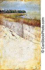 grunge, sandstrand, hintergrund