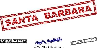 Grunge SANTA BARBARA Scratched Rectangle Watermarks