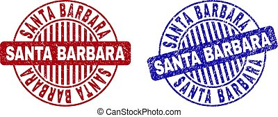 Grunge SANTA BARBARA round stamp seals isolated on a white background. Round seals with grunge texture in red and blue colors.