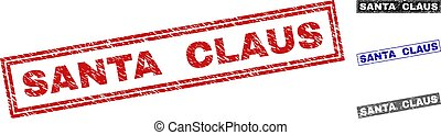 Grunge SANTA CLAUS Scratched Rectangle Watermarks