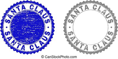 Grunge SANTA CLAUS Scratched Stamps
