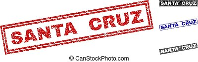 Grunge SANTA CRUZ Textured Rectangle Stamps