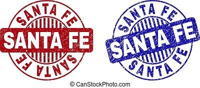 Grunge SANTA FE Scratched Round Stamps