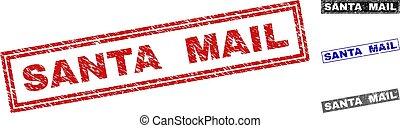 Grunge SANTA MAIL Textured Rectangle Stamp Seals