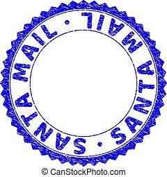 Grunge SANTA MAIL Textured Round Rosette Stamp