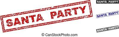 Grunge SANTA PARTY Textured Rectangle Watermarks