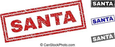 Grunge SANTA Textured Rectangle Watermarks