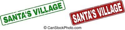 Grunge SANTA'S VILLAGE Stamp Seals with Rounded Rectangle Frames