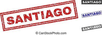 Grunge SANTIAGO Textured Rectangle Stamp Seals