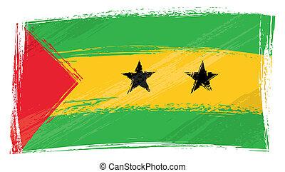 Grunge Sao Tome and Principe flag - Sao Tome and Principe...