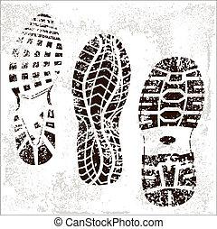 grunge, sapato, trilhas, trio