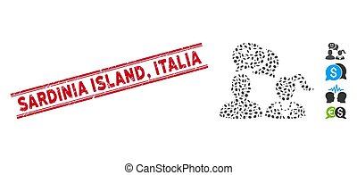 Grunge Sardinia Island, Italia Line Seal with Collage People Happy Chat Icon