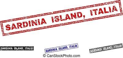 Grunge SARDINIA ISLAND, ITALIA Scratched Rectangle Stamps -...