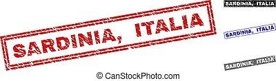 Grunge SARDINIA, ITALIA Textured Rectangle Stamps - Grunge...
