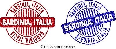 Grunge SARDINIA, ITALIA Textured Round Watermarks - Grunge...