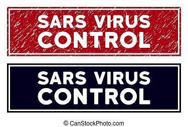 Grunge Sars Virus Control Rectangle Stamp Seal