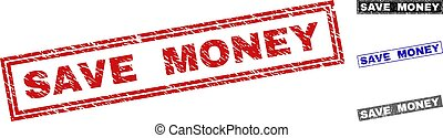 Grunge SAVE MONEY Textured Rectangle Stamps