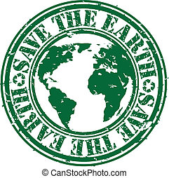 Grunge save the earth rubber stamp,