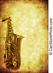 Grunge Saxophone - Grunge saxophone background. Combination...