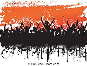 grunge, scena, tłum