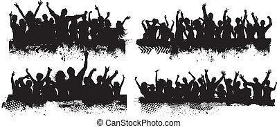 grunge, scene, folla