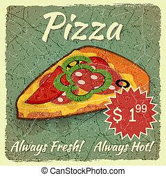 grunge, scheda, con, pizza