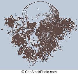 grunge, schedel, illustratie