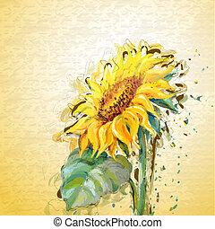 grunge, schilderij, sunflower.