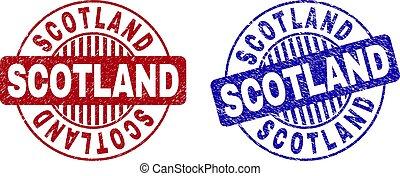 Grunge SCOTLAND Scratched Round Stamp Seals