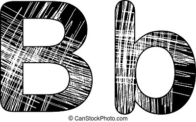 grunge scratch letter B alphabet symbol design on white.
