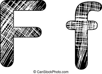 grunge scratch letter F alphabet symbol design on white.