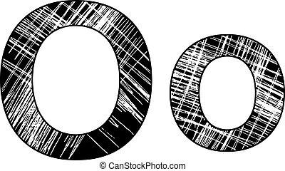 grunge scratch letter O alphabet symbol design on white.