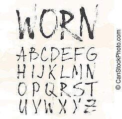 Grunge scratch type font, vintage typography vector