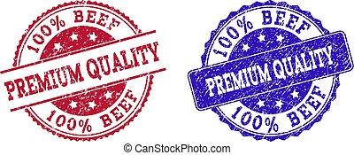 Grunge Scratched 100% BEEF PREMIUM QUALITY Stamp Seals