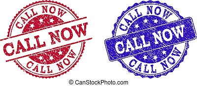 Grunge Scratched CALL NOW Stamp Seals