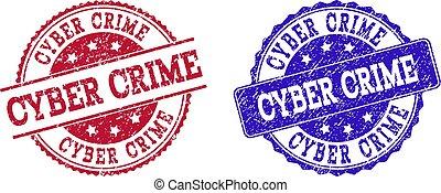 Grunge Scratched CYBER CRIME Stamp Seals