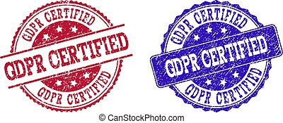 Grunge Scratched GDPR CERTIFIED Seal Stamps