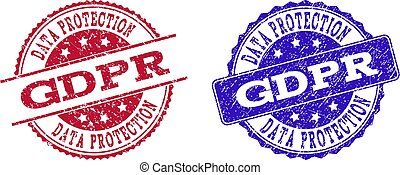 Grunge Scratched GDPR Seal Stamps