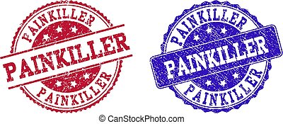Grunge Scratched PAINKILLER Stamp Seals