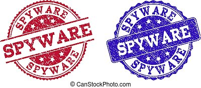 Grunge Scratched SPYWARE Seal Stamps