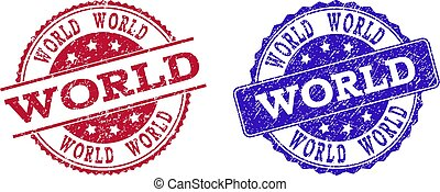 Grunge Scratched WORLD Seal Stamps