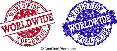Grunge Scratched WORLDWIDE Stamp Seals
