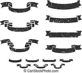Grunge scrolls - Set of distressed grunge scroll banners, ...
