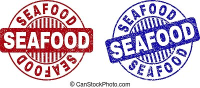 Grunge SEAFOOD Scratched Round Watermarks